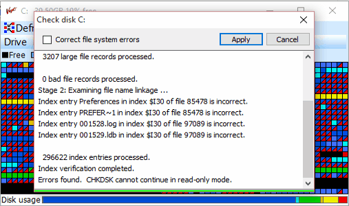 check disk for errors
