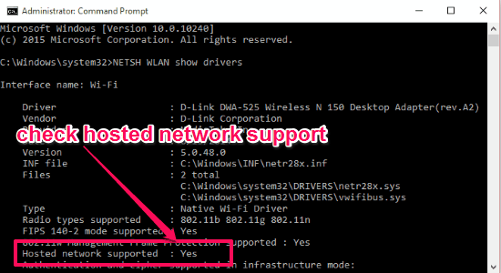 check hosted network support