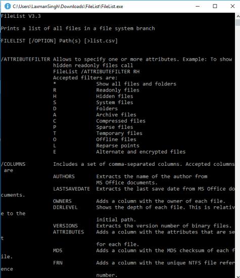 command options