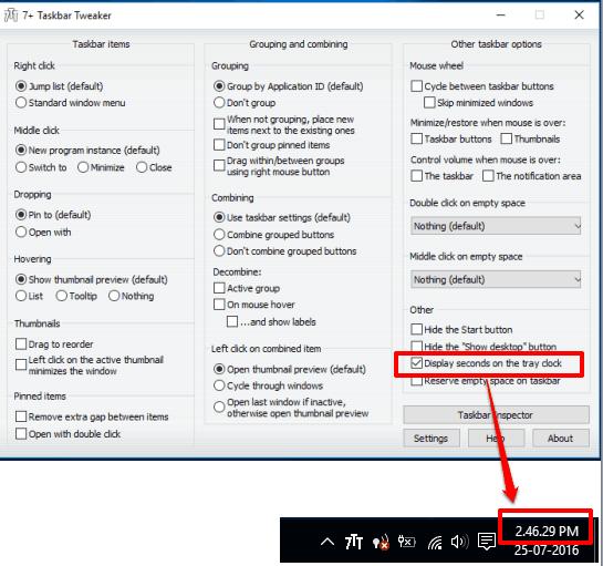 display seconds in system tray clock using 7 + taskbar tweaker