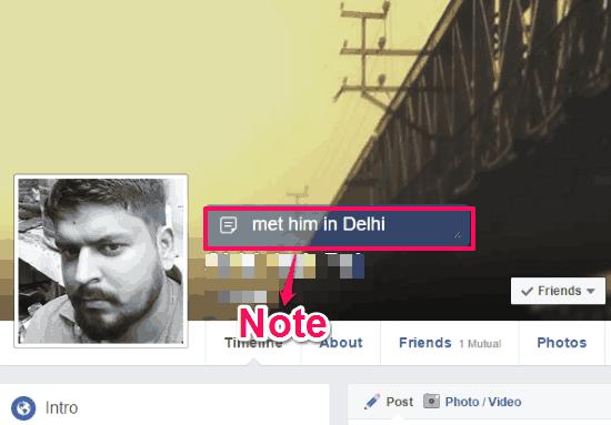 Facebook friends memo