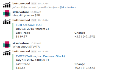 get stock quotes on slack