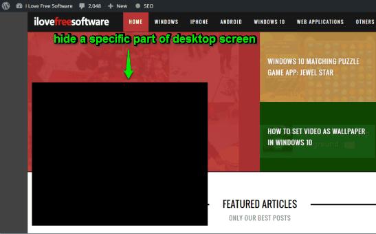 hide a specific part of desktop screen