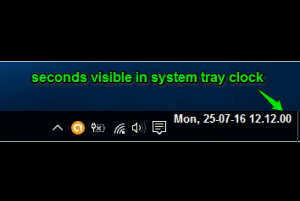 seconds visible in taskbar clock