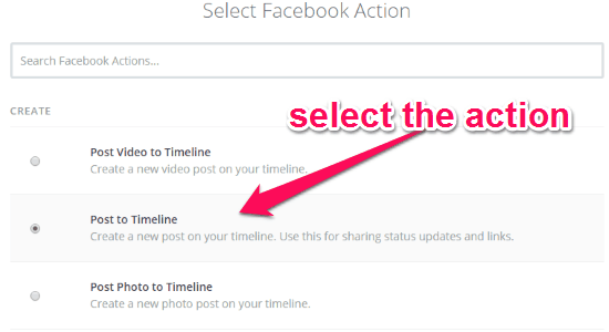 select facebook action