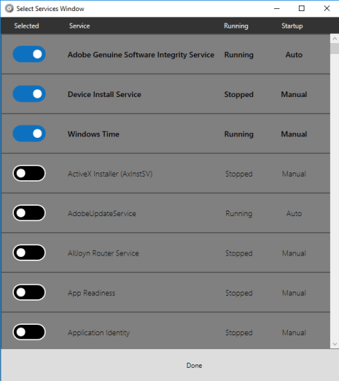 select services to add to panel