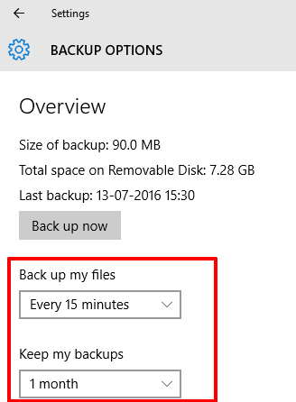 set backup frequency and duration