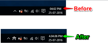 show seconds in system tray clock windows 10