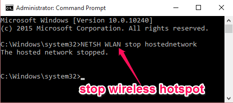 stop hosted network
