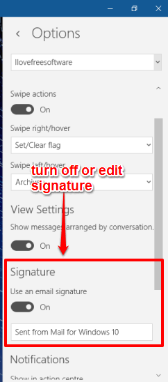 turn off or edit signature
