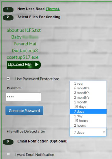 upload files set password and share