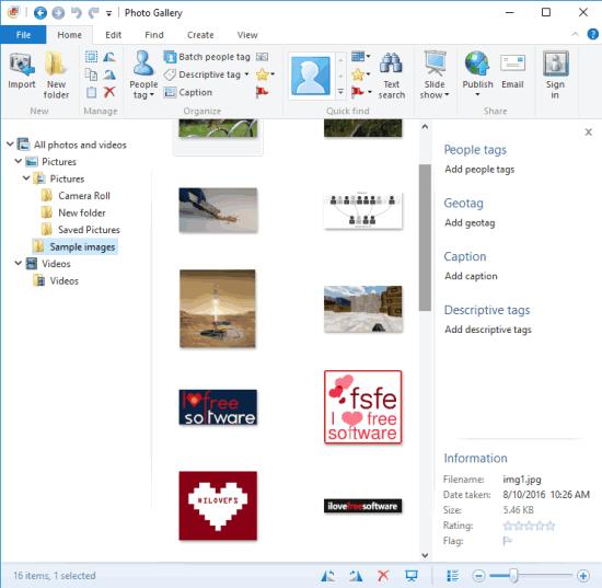 Windows Live Photo Gallery- interface