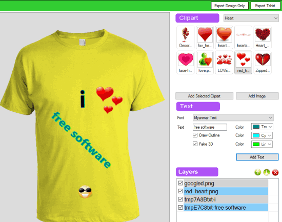 add custom text clipart and export tshirt