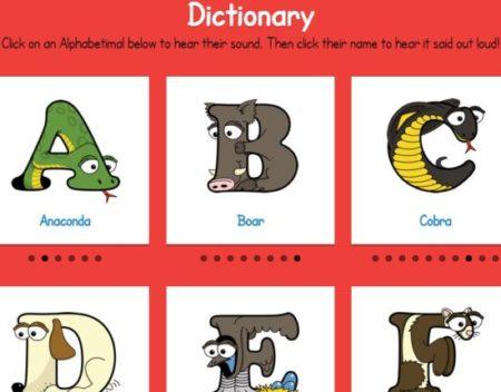 alphabetimals dictionary
