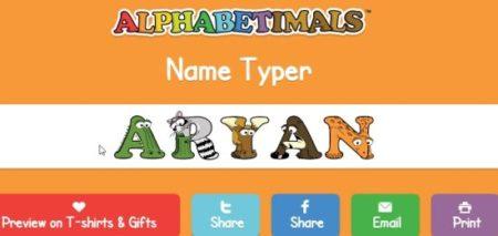 alphabetimals name typer