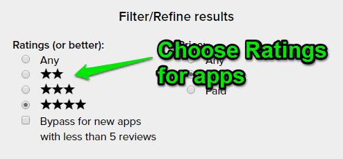 choose ratings as filters