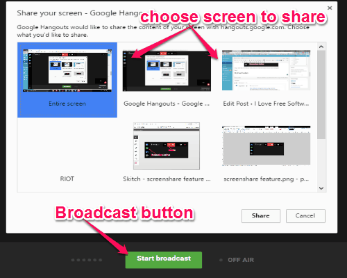 choose screen to share