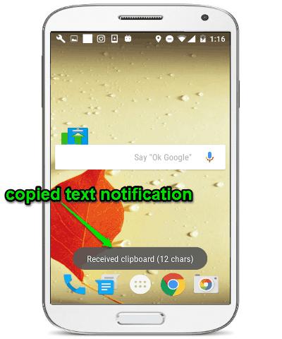 copy text notificatiion