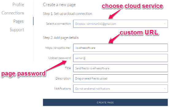 create upload page