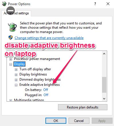 disable adaptive brightness on laptop