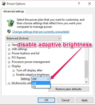 disable adaptive brightness ooption