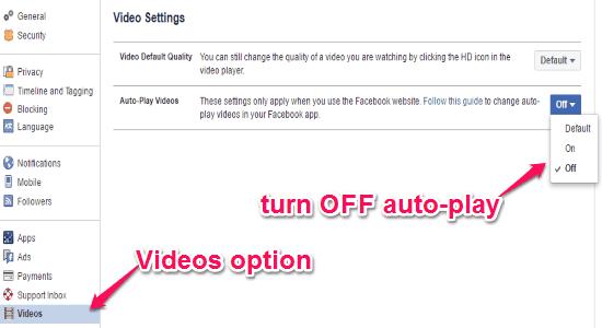 disable auto-play videos
