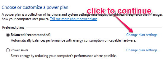 preferred power plans