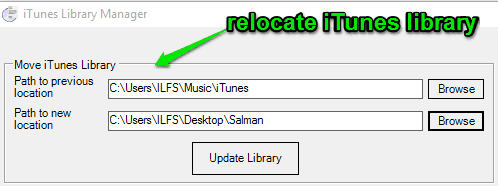 relocate itunes library
