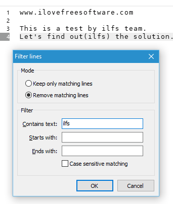 remove matching lines