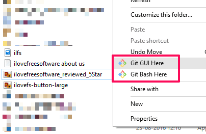right click options for Git