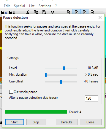 set pause detection settings