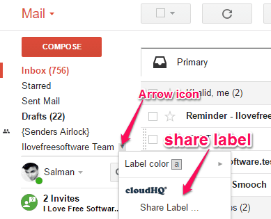 share label option