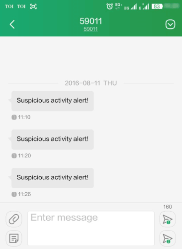 sms alerts for suspicious activities