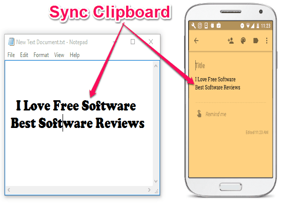 sync clipboard between windows and android