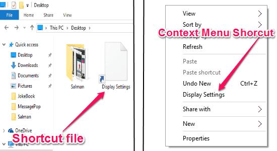 system settings shortcuts