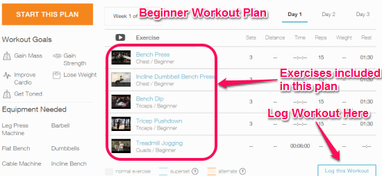 workout plan with logging option