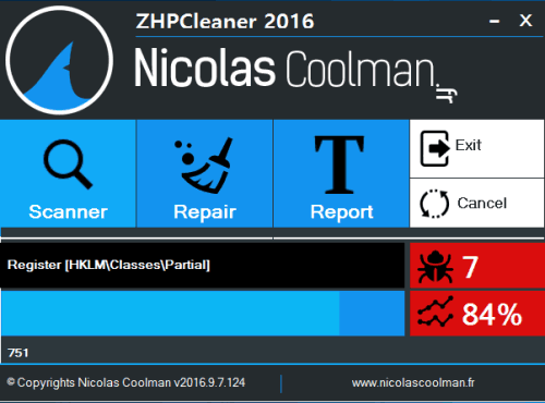 ZHPCleaner- interface with scanning process