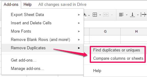 access remove duplicates option