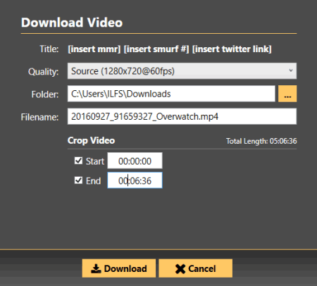 adjust options before downloading video