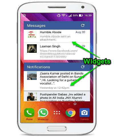 android facebook widget