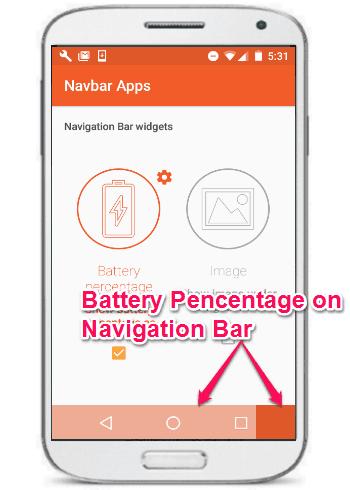 battery percentage on navigation bar