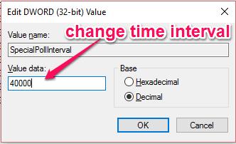 change the default value