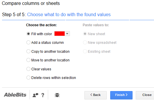 choose type of action for duplicates