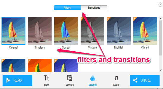 filters and transitions