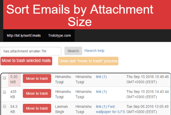 Sort emails by attachment size