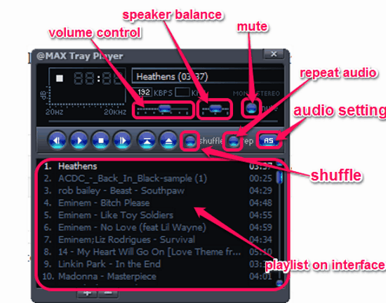 taskbar audio player