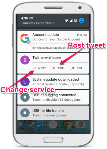 notificationj bar option