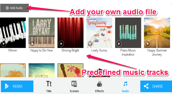 predefined music tracks
