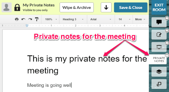private notes