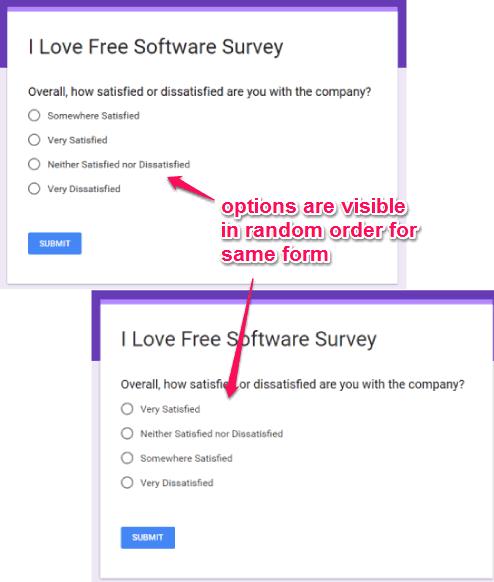 random options visible for same google form